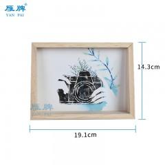 雁牌简约梯形实木相架7寸相框画框亚克力木质小摆台创意木框摆台